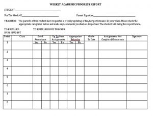 Template Student Weekly Analysis Report Templates