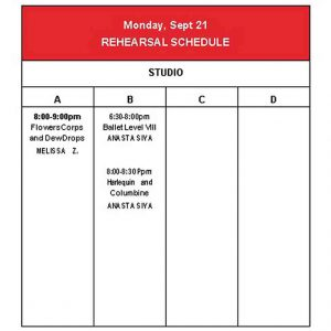 Template Studio Rehearsal Schedule Template