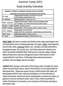 Template Summer Camp Daily Activity Schedule Template PDF Format