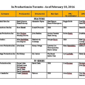 Template Toronto Film Shooting Schedule PDF Template