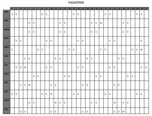 Template Vacation Schedule Template