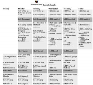 Template Weekly Camp Schedule Template PDF Download