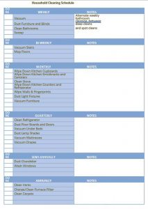 Template Weekly House Cleaning Schedule