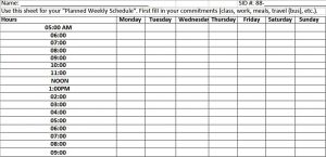 Template Weekly Planned Schedule Template Excel