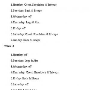 Template Workout Weekly Weight Training Schedule
