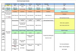 Template Youth Camp Chids Schedule Template Free PDF