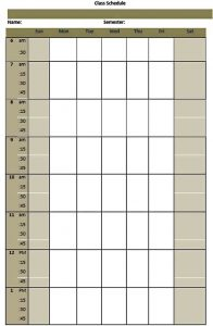 Template college class schedule template free download1