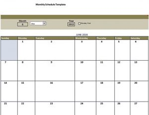 Template free monthly schedule template