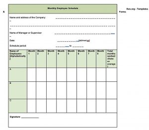 Template monthly employee schedule template 1