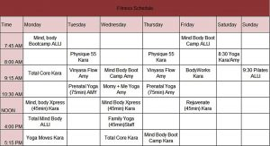 Template sample fitness schedule template