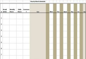Template sample hourly schedule template download