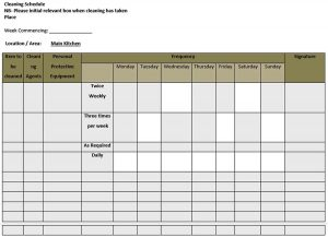Template sample kitchen cleaning schedule template