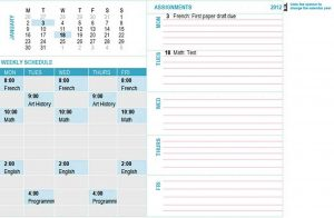 Template student weekly planning calendar any year mon sun