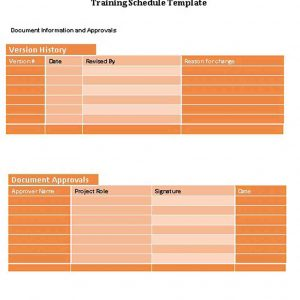 Template training schedule template