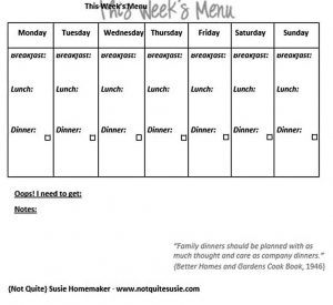 Template weekly meal plan free printable