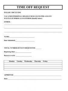 free time off request form