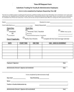 free time off request form administrative employee
