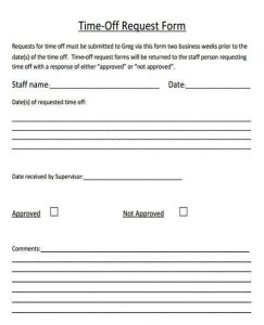 free time off request form sample